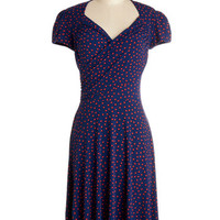 Leota Nautical Mid-length Cap Sleeves A-line Kelly's Vivid in the Moment Dress in Confetti