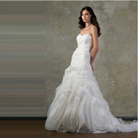 Berydress Euro Type A-line Sweetheart Simple Pleated Ruched Long Organza Wedding Bridal Dresses in Discount