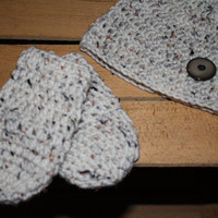 Cream Crocheted Infant Thumbless Mittens And Hat set- Baby Shower, First Christmas, First Winter Baby Mittens