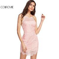 COLROVI Floral Lace Party Dress Women Pink Sexy Button Back Vintage Overlay Slip Summer Dresses 2017 Fashion Bodycon Club Dress