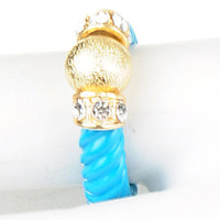 Gold Ball & Crystal Blue Ring