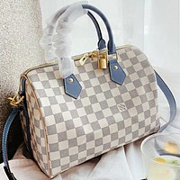 LV Louis Vuitton New fashion tartan leather crossbody bag shoulder bag women handbag White