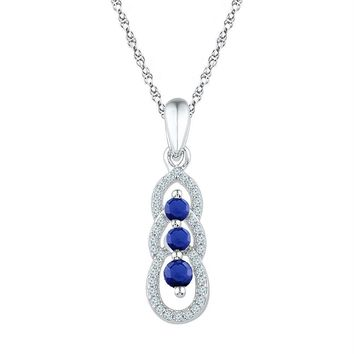 10kt White Gold Womens Round Lab-Created Blue Sapphire 3-stone Pendant 1-2 Cttw