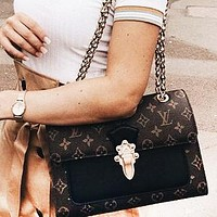 LV fashion lady Dionysus printed patchwork color shoulder bag shopping bag Coffee print+Black