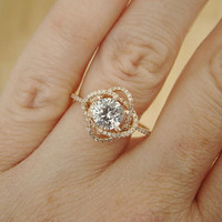 2nd PAYMENT Only RESERVED for D Halo White Sapphire Diamond Ring Gemstone Engagement Ring Custom Round Double Halo Setting 14K Rose Gold