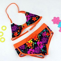 Girl Swimsuits Cute Flower Pattern Split Bikini Swimwear Cartoon Bikini Biquini Infantil Menina Two Pieces Baby Bathing Suits