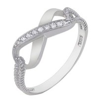 .925 Sterling Silver Cubic Zirconia Infinity Ring