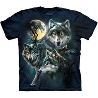 The Mountain MOON WOLVES COLLAGE Night Wolf T-Shirt S-3XL NEW