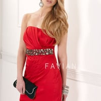 Red Pleated Stretch Satin Beaded Empire Waist Short Homecoming Dress - Unique Vintage - Cocktail, Pinup, Holiday & Prom Dresses.