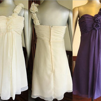 Custom A-line One-shoulder Sleeveless Knee-length Chiffon Bridesmaid Dress With Flowers Free Shipping