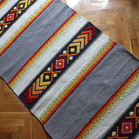 Handwoven wool rug - made to order - grey, red, orange and yellow