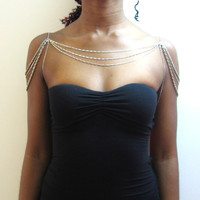Three layer silver chain shoulder necklace W/ underarm chain