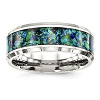 Stainless Steel Polished Finish Blue Opal Inlay 8mm Men's Ring