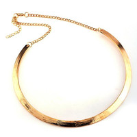 Women's Gold & Silver Plated Punk Slim Curved Metal Bib Choker Necklace Collar