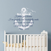 Psalm 139:14 I Praise You Because I am Fearfully and Wonderfully Made Scripture Bible Verse Wall Decal Anchor Nursery Decor Q284