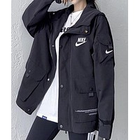 NIKE New fashion letter hook print couple long sleeve coat jacket Black