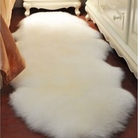 Super Soft Washable Shiny Sheepskin Fur Wool 5 Colors Pure High-Quality 4-in-1 Carpet Rugs for Floor Chairs Sofas Cushions Kitch