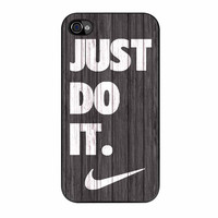 Nike Just Do It Wood Colored Darkwood Wooden iPhone 4s Case