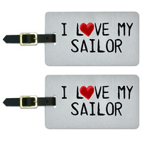 I Love My Sailor Written on Paper Luggage Tag Set