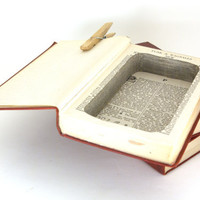 iPhone or Cell Phone Charging Station - Hollow Book Safe - Vintage Encyclopedia