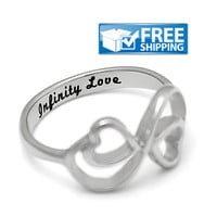 """Love Gift - Double Hearts Couples Ring Engraved on Inside with """"Infinity Love"""", Sizes 6 to 9"""