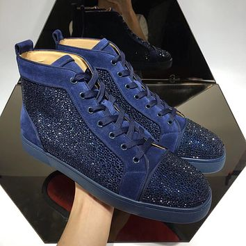 Christian Louboutin CL mens balck Fashionable Casual High Top Monogram Leisure Sports Shoes Sneakers   Shoes Flat Shoe Red Bottom and Liutin boot best quality