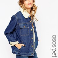 ASOS PETITE Denim Jacket in Rich Blue with Borg Lining and Collar