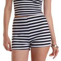 Black/White Striped High-Waisted Shorts by Charlotte Russe