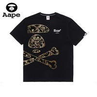 AAPE 2019 early spring new tide brand hot stamping men and women short-sleeved T-shirt black
