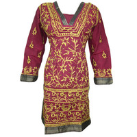 Mogulinterior Womens Kurta Top Maroon Floral Embroidered Cotton Designer Long Tunic Dress