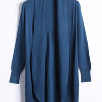 Collarless Candy Color Sleeve Cardigan