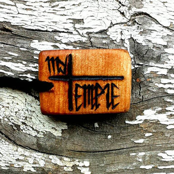 """My Body Is My Temple Pendant """"My Temple"""" 100% all natural wooden pendant necklace"""