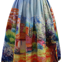 Turn Back Time Scenic Print Midi Skirt Blue