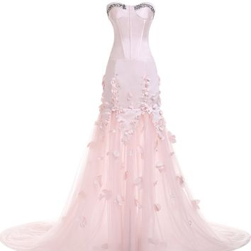 Sunvary Pale Pink Satin and Tulle Mermaid Evening Prom Dresses Pageant Gowns Long