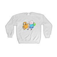 ADVENTURE TIME Finn and Jake Unisex Sweatshirt Cartoon Network Crewneck Sweater