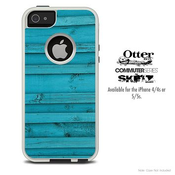 The Horizontal Blue Wood Skin For The iPhone 4-4s or 5-5s Otterbox Commuter Case