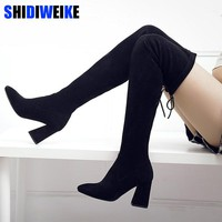 Women Stretch Faux Suede Thigh High Boots Sexy Fashion Over the Knee Boots High Heels Woman Shoes Black N087