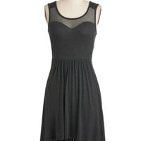 ModCloth Short Sleeveless A-line Bituminous Cool Dress