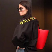"""Balenciaga"" Women All-match Fashion Letter Logo Buttons Cardigan Long Sleeve Bow Strappy Shirt Tops"
