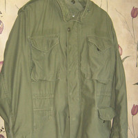 Men's Field Coat Military Jacket Sage Green Drab Olive Heavy Weight  hooded Coat 1960s