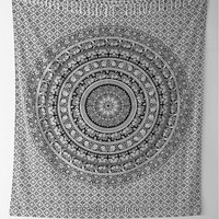 Black & White Mandala Tapestry : Bohemian, Hippie, Cotton, Wall Decoration, Dorm, Beach, Urban Outfitters