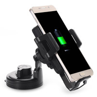 ITian C1 Universal Qi Wireless Charger Transmitter with Car Charge Adapter Sucker Mounted Phone Stand Holder For Samsung Galaxy