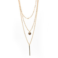 Gold Plated Fatima H  3 Multi Layer Chain Bar Necklace Gold Beads   Long Strip Pendant Necklaces Jewelry SM6