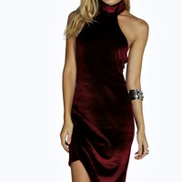 Elodie High Neck Asymmetric Velvet Bodycon Dress