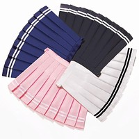 Pleated Striped Skirt