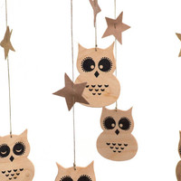 Baby Mobile - Owl Mobile - Baby boy mobile -  wood mobile - star baby mobile - Natural Nursery Decor