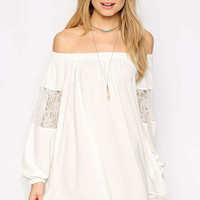 White Off- Shoulder Chiffon Dress with Lace Detail