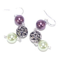 Purple green glass pearl drop earring dangle, Carved antique silver plated bead, Sterling silver French hook ear wire, Hang Ear ring, Earing
