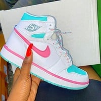 Nike Air Jordan 1 Mid GS Digital Pink Women's Sneakers Shoes
