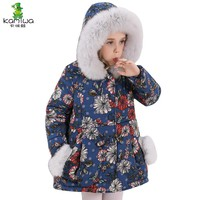 KAMIWA 2017  Baby Girls Winter Coats Cotton-padded Jackets Floral Thicken Brand Kids Clothes A Long Children's Clothing